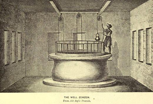 رسمة لبئر زمزم في العصر العثماني وتوضح الصورة طريقة سحب الماء من البئر